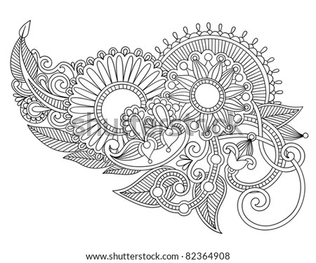 Art ornate flower design ukrainian traditional style stock vector