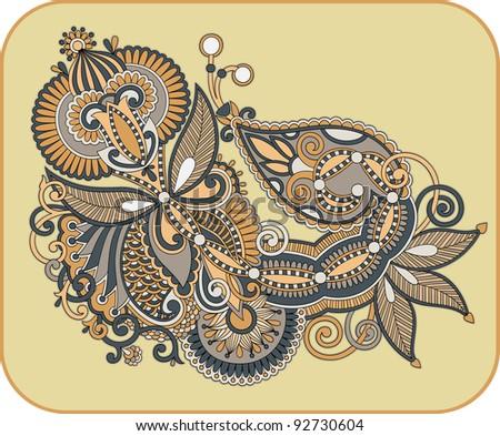 Hand draw line art ornate flower design. Ukrainian traditional style - stock vector