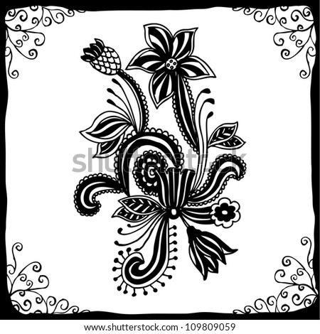 Flower Picture  on Hand Draw Line Art Ornate Flower Design With Elegant Black Frame Stock