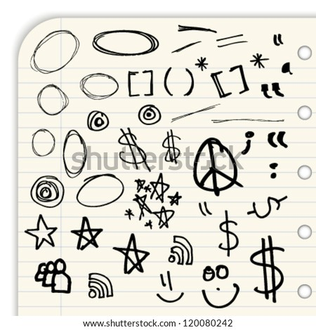Hand draw marks and symbols isolated on a lined notebook page - stock vector