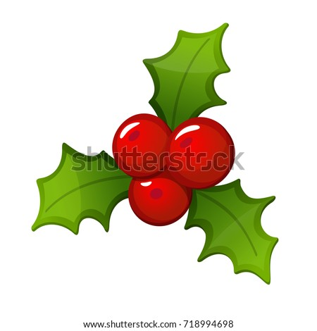 Hand draw Mistletoe branch on white background. Merry Christmas. Happy New Year.