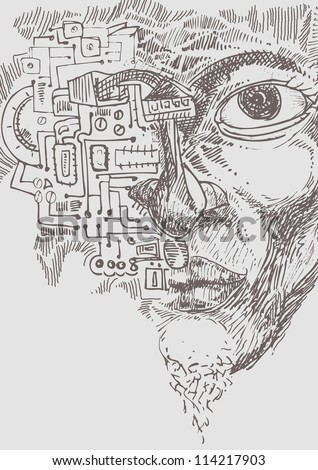 hand draw of face with electronic circuit