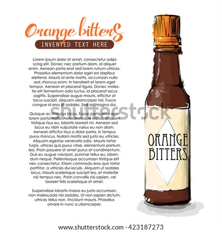 Hand draw of Orange bitters bottle. Vector illustration.