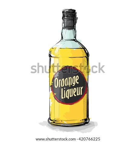 hand draw of orange liqueur