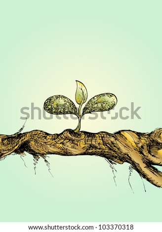hand draw of small tree on wood, on light blue background