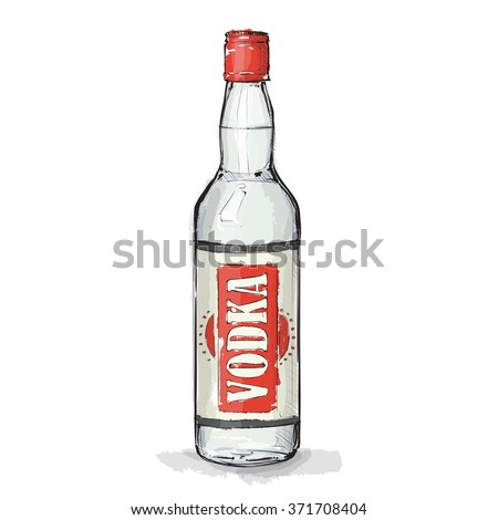 hand draw of vodka bottle