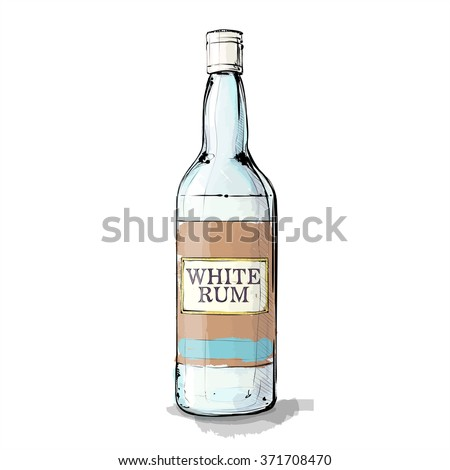hand draw of white rum bottle