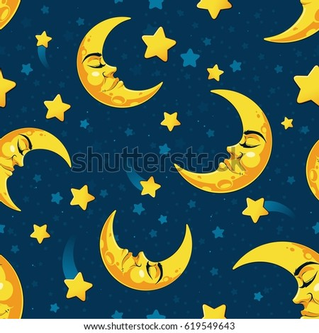 Stock Photo Hand draw seamless pattern of sleepy crescent moon and star