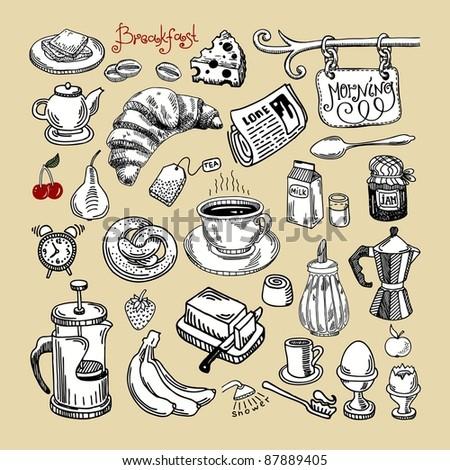 hand draw sketch morning breakfast set