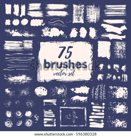 Hand draw sketch paintbrush set. Sketch grunge painted brush isolated vector illustration