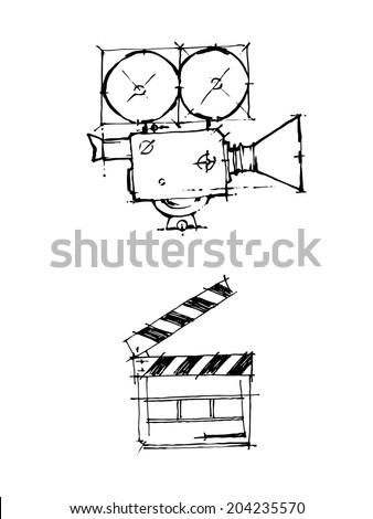Hand draw sketch Vintage cinema camera and clapper