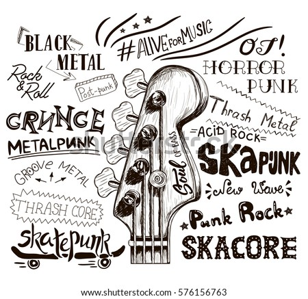 Hand draw sketch with bass guitar for rock festival poster. Rock and Roll sign. Vector illustration isolated. Punk label design for t-shirts, posters, logos, greeting cards etc.