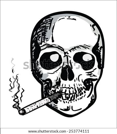 hand draw skull   smoking