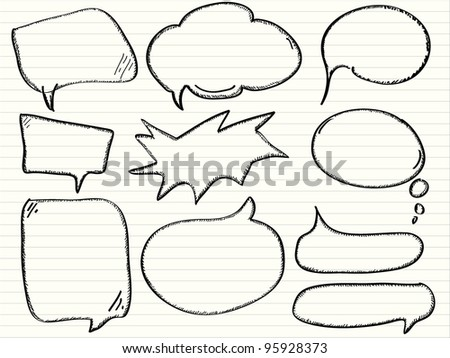 Hand draw speech bubbles, vector