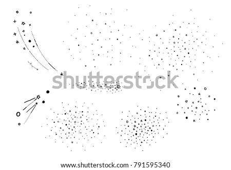 Hand draw starry elements. Stars cluster, falling stars. Sketched vector elements for universe and astrology illustration, cartoon style.