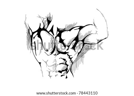 hand draw strong man on white background