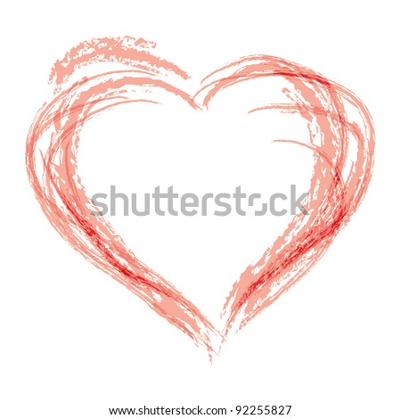 Hand draw style heart shape in red color
