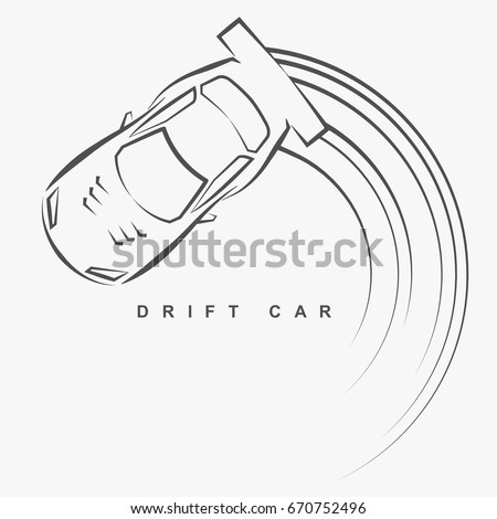 hand draw style of drift car