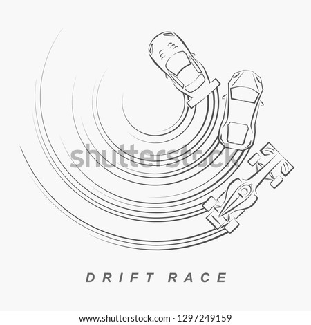 hand draw style of 3 drift cars