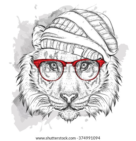 hand draw tiger in a hat