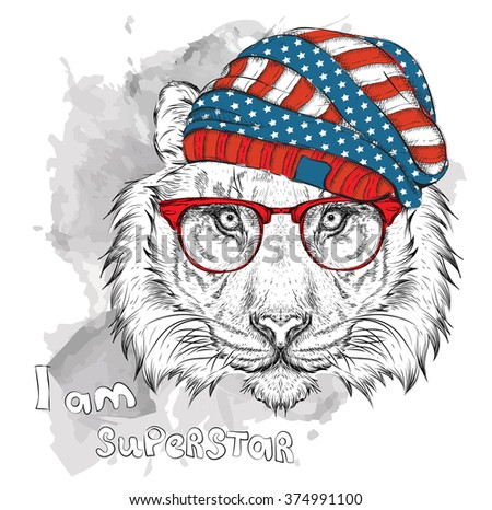ccf4a52b27efa Hand draw tiger in a USA hat. Vector illustration