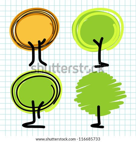 Hand draw tree cartoon.Vector