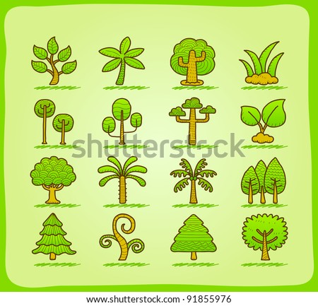 hand draw tree icon set