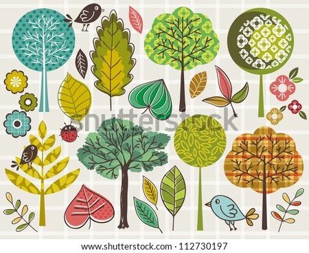 hand draw  trees and leafs over checked background, vector