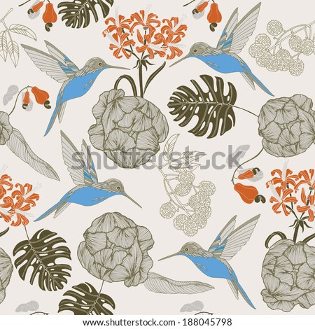 hand draw tropical flower and bird blossom cluster seamless pattern background