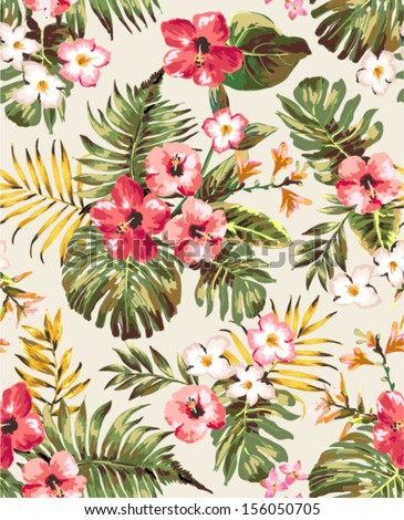 Hand Draw Tropical Flower,Blossom Cluster Seamless Pattern Background