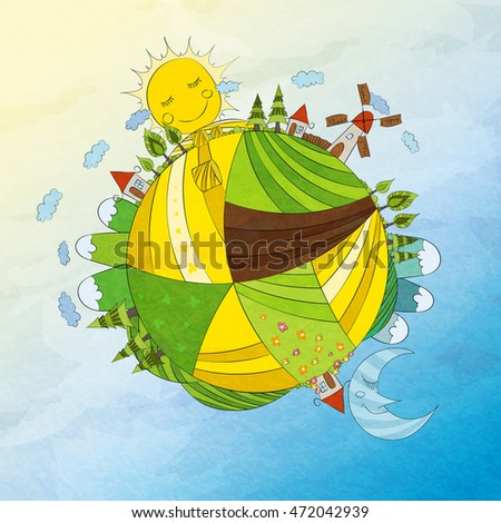hand draw vector cartoon planet