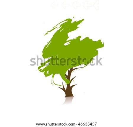 hand draw vector green tree on eco background, vector illustration