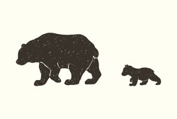 Hand draw vector grunge illustration of the bear family