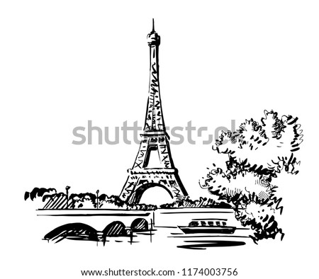 Hand Draw vector Illustration Eiffel Tower, France