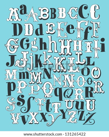 Hand Draw Vintage Alphabet