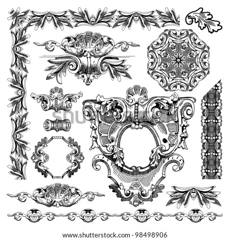 hand draw vintage sketch ornamental design element of Lviv historical building, Ukraine.  Vector set: calligraphic design elements and page decoration