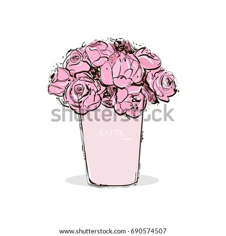 Hand drawing a pastel pink cup of coffee with latte and beautiful pink flowers inside. Fashion vector illustration. Design of fashionable illustration. Trend Stylish Card