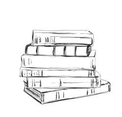 Hand drawing a pile of books. Sketching