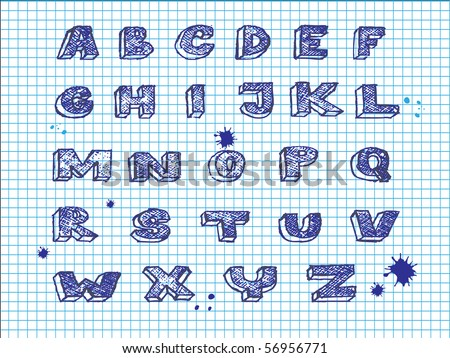 Hand drawing alphabet-vector