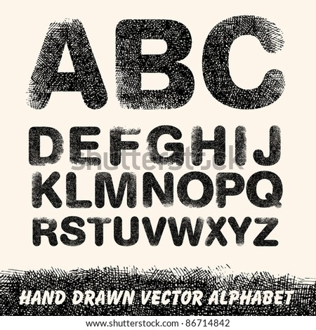 Hand drawing alphabet. Vector