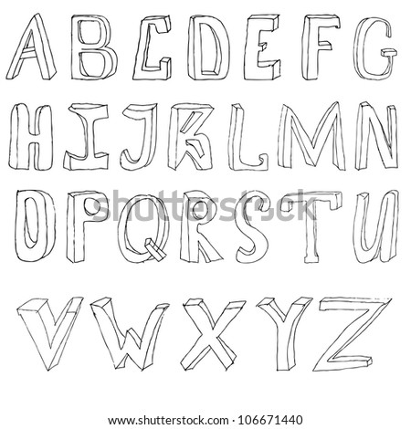Hand drawing alphabet vector illustration set in black ink