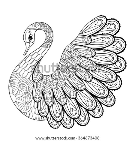 hand drawing artistic swan for