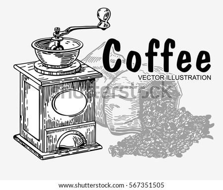 hand drawing bag of coffee
