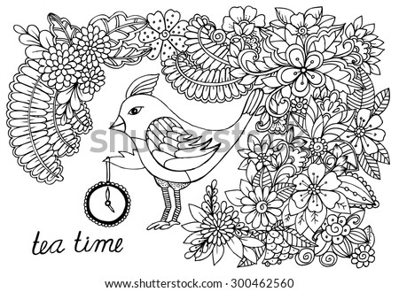 Hand drawing  bird and doodle flower pattern. Time for tea. 5 o'clock is tea time