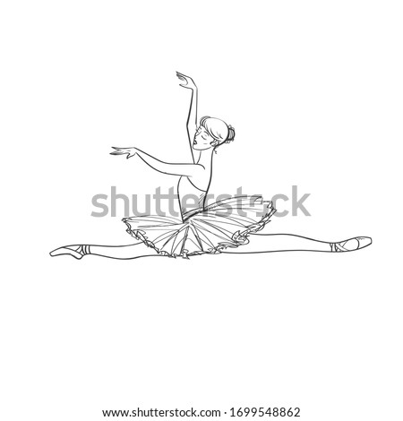 Hand drawing Black and white Ballerina. Dancer in tutu and pointe shoes.Vector Line isolated drawing illustration.Dancer is jumping. logo.