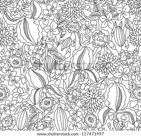 Hand drawing black floral seamless on white background
