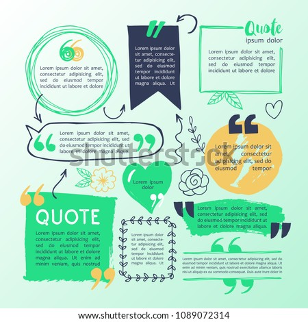 Hand drawing block quote and pull quote design elements. Creative text template