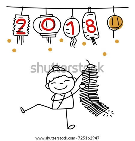 Hand Drawing Cartoon Character Chinese People Dancing Lion Dance And Kid Happy New Year