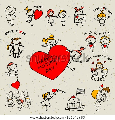 hand drawing cartoon concept happy kids happy mother's day
