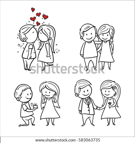hand drawing cartoon set of